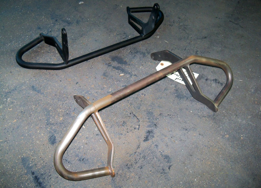 Engine guards powder coated before and after